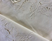 Vintage unused Hand Embroidered and cut tablecloth topper