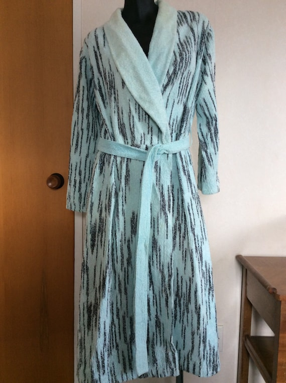 Vintage Supertex Chenille Blue Grey Bathrobe, Robe