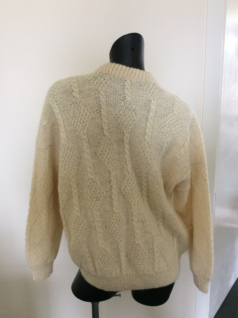 cable knit cardigan Made in  New Zealand winter Jumper wool Sweater Hand knitted Aran