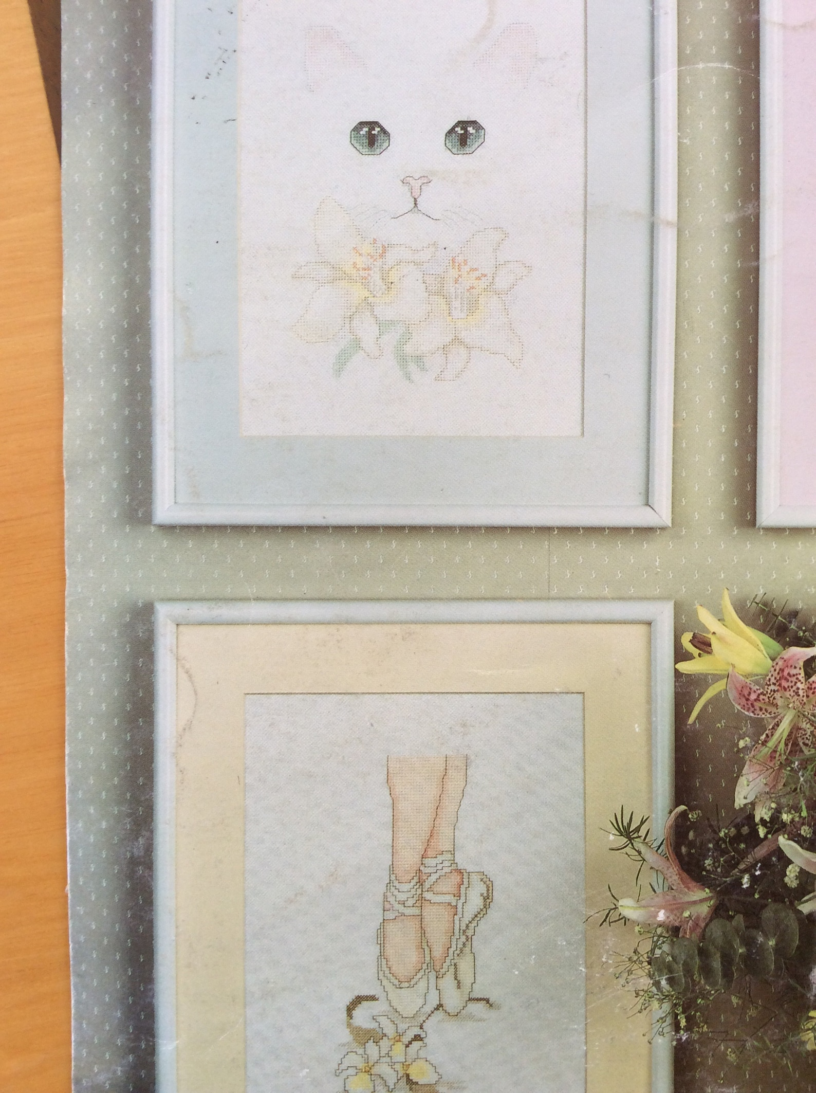 the little ballerina cross stitch 4 charts kitten with ballet shoe, cat and flowers ballerina, point shoes, harrison