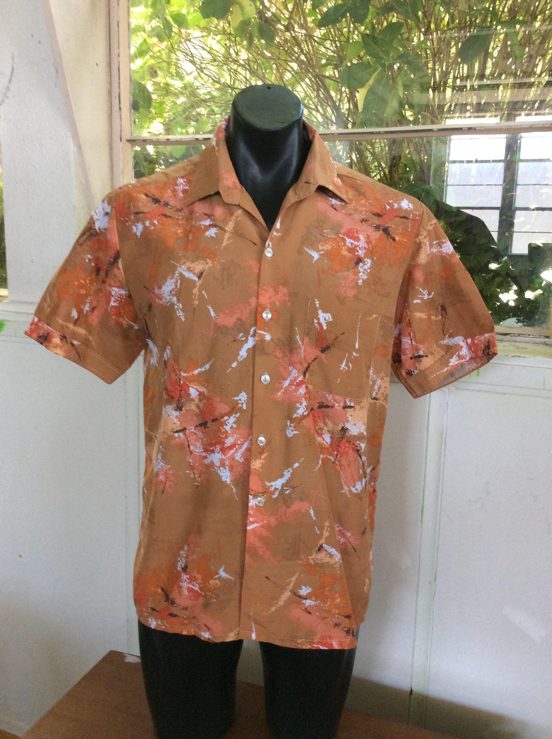 1970s Men's Shirt Styles – Vintage 70s Shirts for Guys 1980S Mens Hosma Shirt Abstract Art , Paint Splatter Short Sleeve Made in Australia $13.79 AT vintagedancer.com