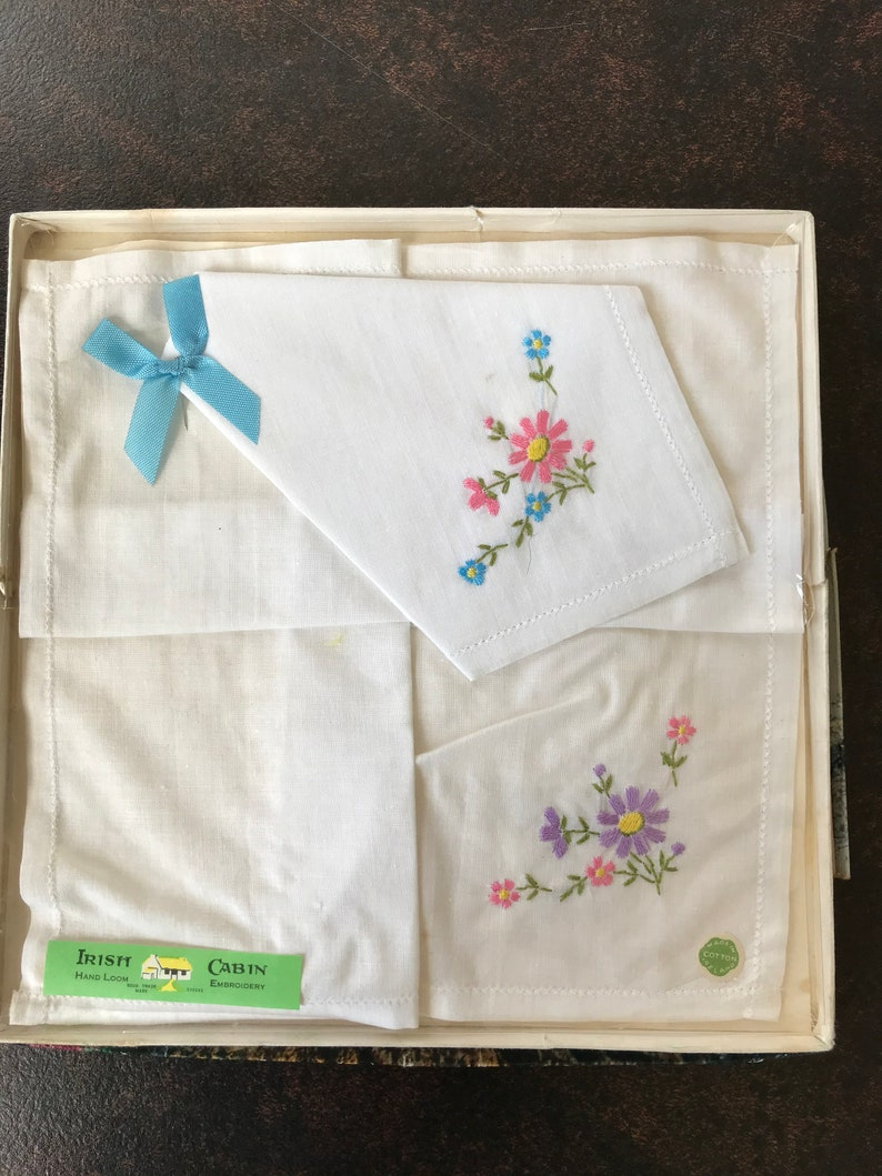 hand loom embroidery 2 boxed sets 1960s Embroidered Irish handkerchiefs flowers Irish Cabin  and Linenhall cotton and lace