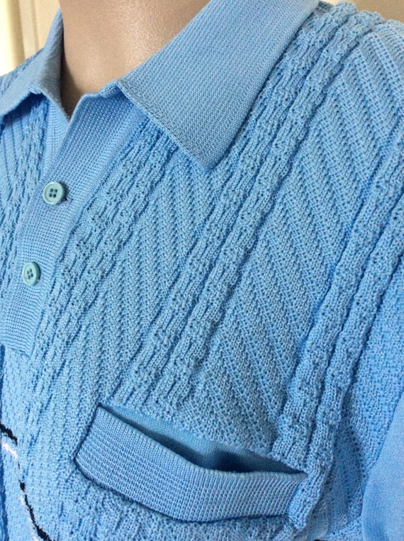 1960 ' s manches courtes Mens Mod aristocrate Canada tricoté polyester polyester tricoté polo shirt, grande grande 1b1793
