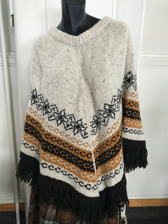 Hand knitted Wool Poncho,  Fair Isle,  woolen ponc