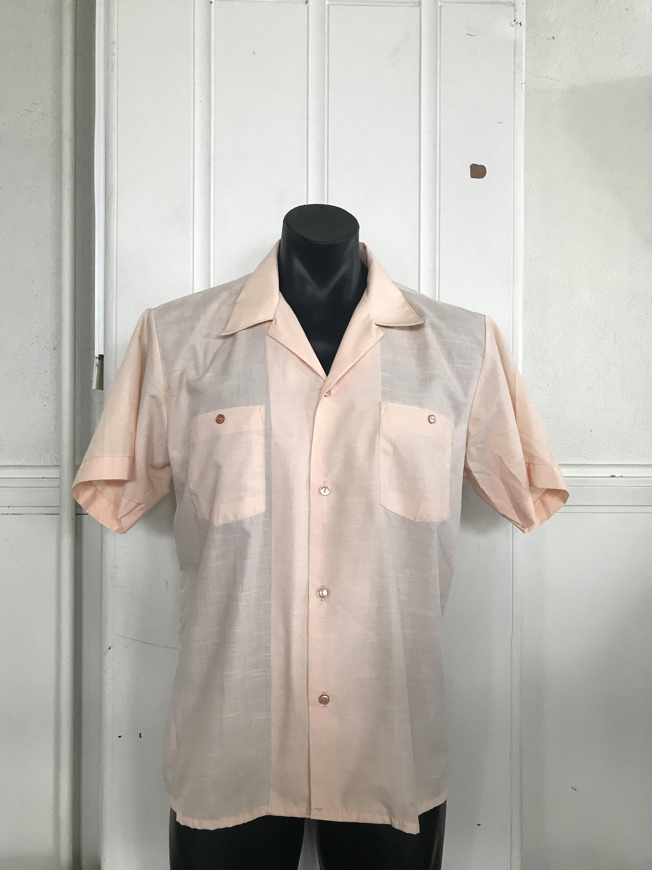 1970s Men's Shirt Styles – Vintage 70s Shirts for Guys 1960s 1970S Mens Mod Pale Orange , Apricot, Short Sleeve Polyester Cotton Shirt Statesman, New Zealand $14.90 AT vintagedancer.com