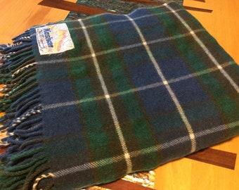 "Travel Rug , throw, picnic rug, New Zealand Wool blend  Kashhan blue and green 55"" × 62"","