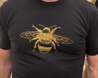 Tee Shirt Men's Golden Bee Screen Print Olive Green or Black Organic Cotton