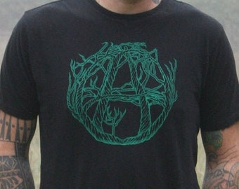 Organic Cotton Anarchy-Tree Men's Black with Green ink Made to Order