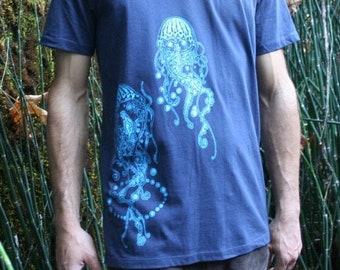 Tee Shirt Men's Jellyfish Nature Screen Print Navy Blue Organic Cotton