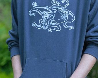 ocket Hoodie Pullover Sweatshirt Octopus Print Mens Navy Blue Organic Cotton Screen Printed