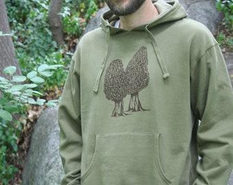 Pocket Hoodie Pullover Sweatshirt Morel Pullover Mens Moss Green Organic Cotton Screen Printed