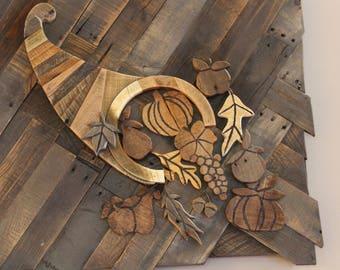 c8adf73c3ac Pallet Wood Wall Art Cornucopia - Wood Wall Art - Reclaimed Wood Art -  Cornucopia - Thanksgiving - Fall Decor - Rustic Wood Wall Art
