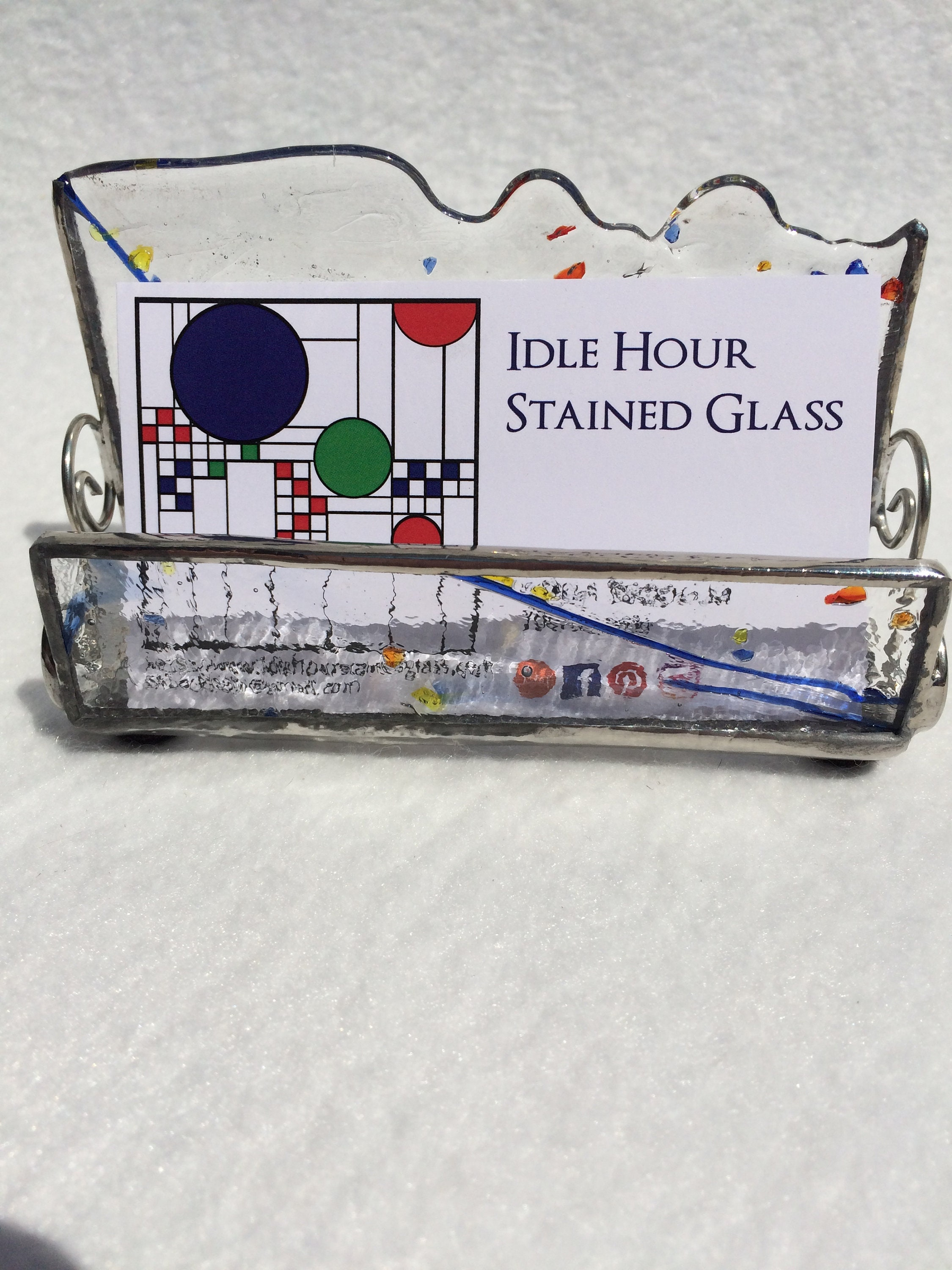 Stained glass business card holder business card holder office stained glass business card holder business card holder office decor clearblue business card holder desk accessory colourmoves