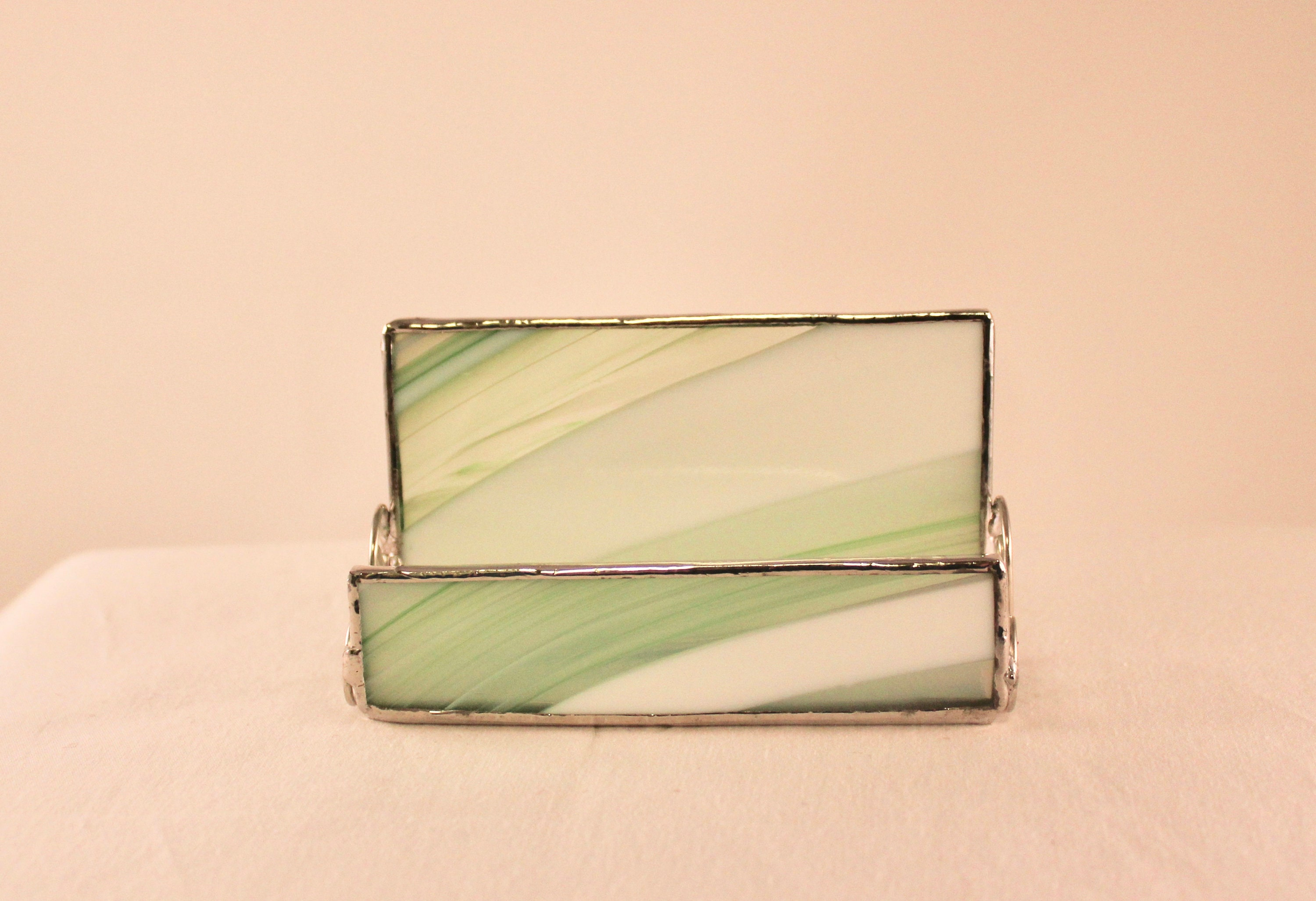 Stained glass business card holder business card holder office stained glass business card holder business card holder office decor green business card holder desk accessory reheart Gallery