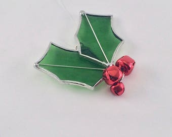Stained Glass Holly Leaf Ornament - Christmas Ornament - Holly Suncatcher - Holly Ornament - Christmas Decorations - Holly Leaves