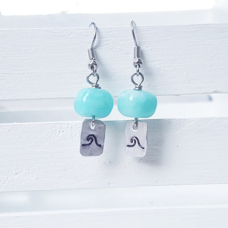 Aqua wave earrings