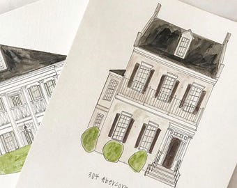 "Custom house illustration  8""x10"" watercolor + ink"