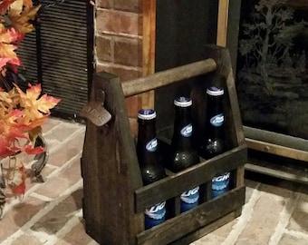 Personalized Rustic Wood Beer Tote /Beer Caddy / Beer Carrier