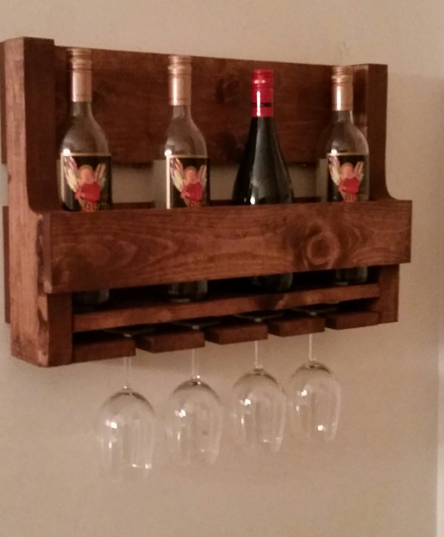 pallet wine glass rack. Rustic Pallet Wine Rack // Glass Holder Liquor Cabinet Country Decor Cabin Unique Gift Idea