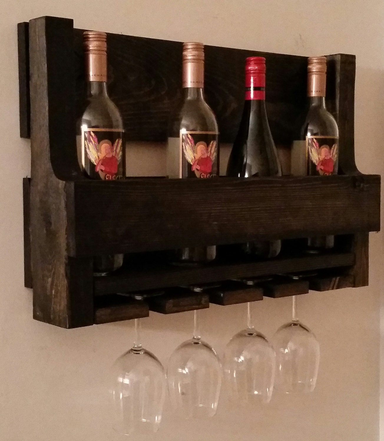 Rustic Pallet Wine Rack Wine Glass Holder Wine Rack