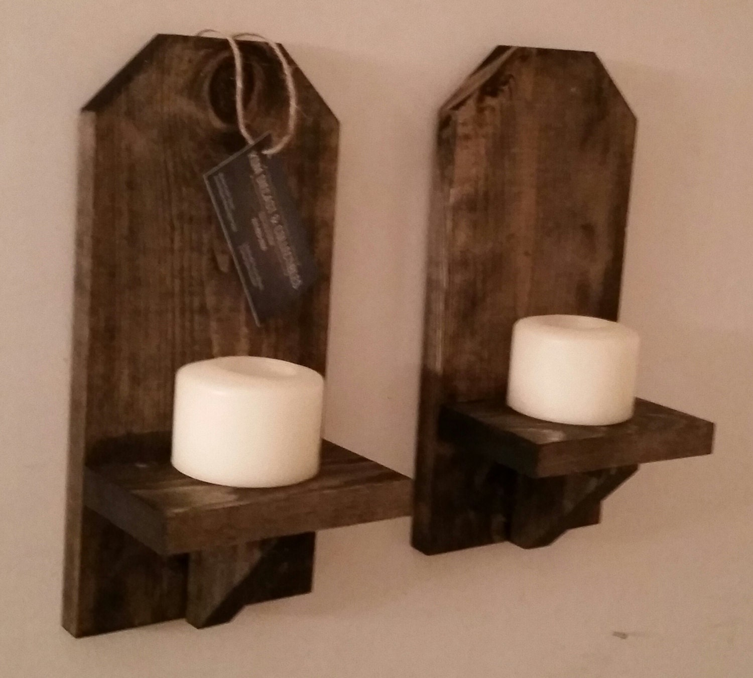 Rustic Wood Wall Sconce Pair 12 Wall Sconce Shelf
