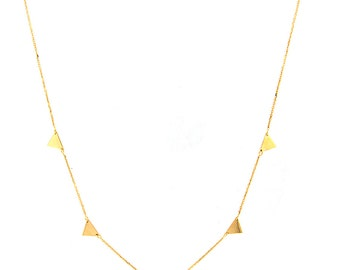 """14k Yellow Solid Gold Triangle Necklace with Adjustable Chain 16-18"""""""