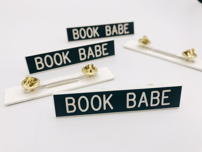 Book Babe / Book SIut Black and White Name Plate Pin image 0