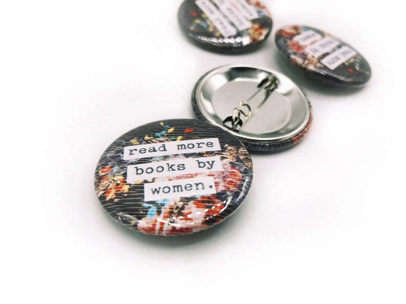 Read More Books By Women  1.5 Pin-Back Collage Button image 0