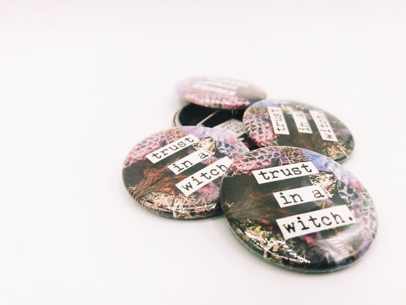 Trust In A Witch / Purple Snakeskin Pin-Back Button image 0