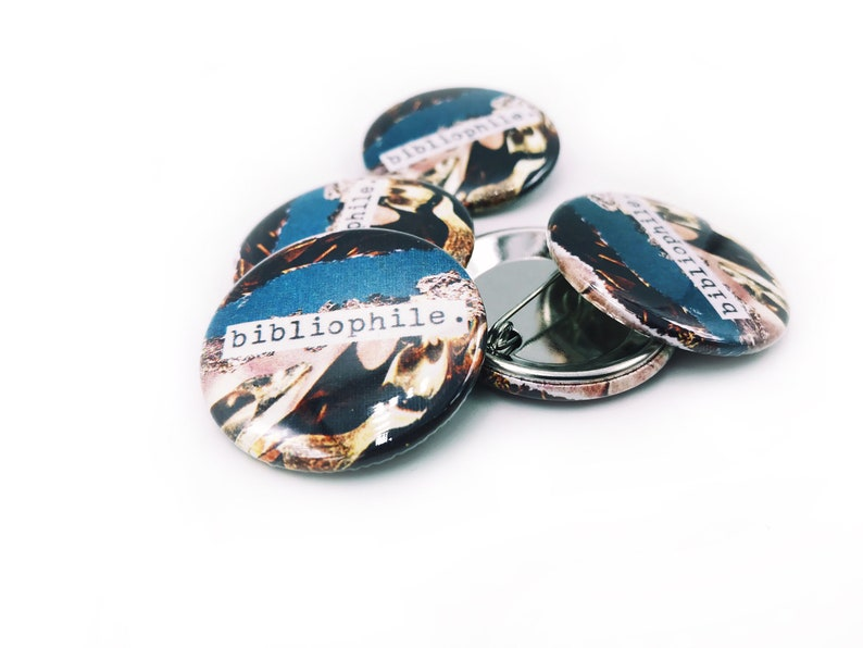 Bibliophile  1.5 Pin-Back Collage Button image 0