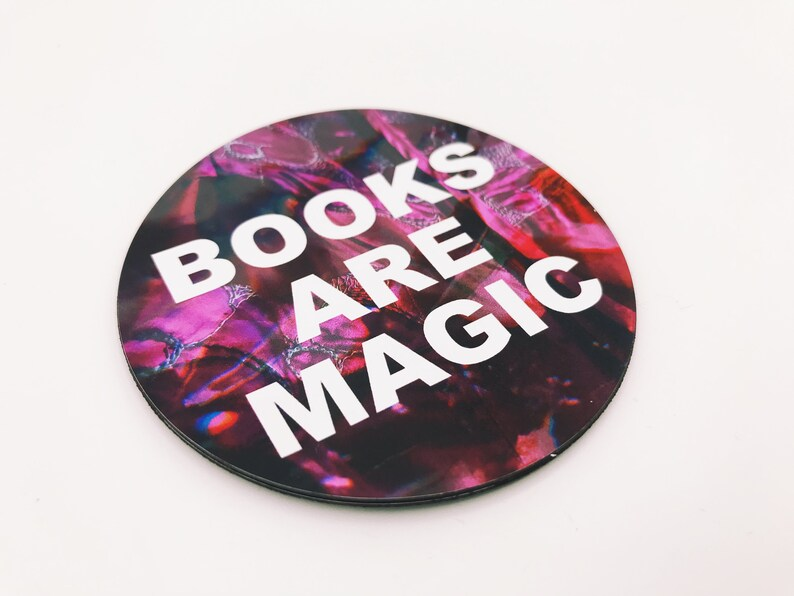 Books Are Magic 3 Inch Pink & Purple Magnet image 0