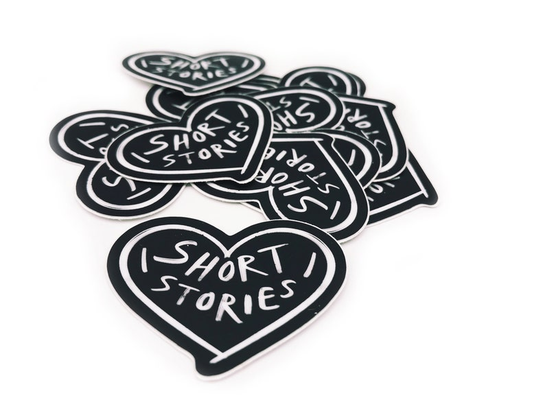 Heart Short Stories Black and White Vinyl Sticker  image 0
