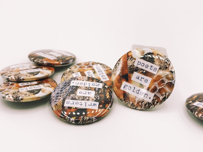 Poets/Writers are Golden  1.5 Pin-Back Collage Buttons image 0