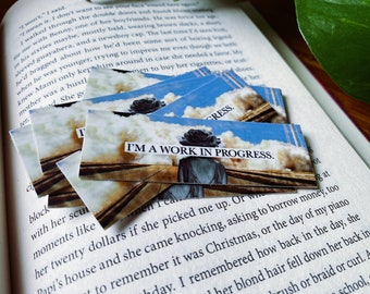 I'm A Work In Progress Analog Collage 3 Inch Vinyl Sticker / Literary Gift for Readers and Writers / Bibliophile WIP