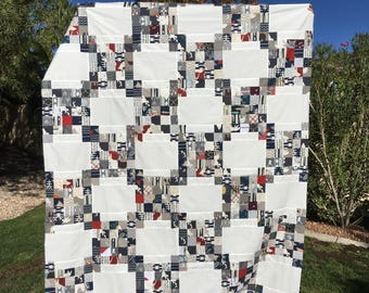 Lap Quilt, Sofa Quilt, Twin Quilt, One of a Kind, Navy and Grey Quilt, Triple Irish Chain Quilt