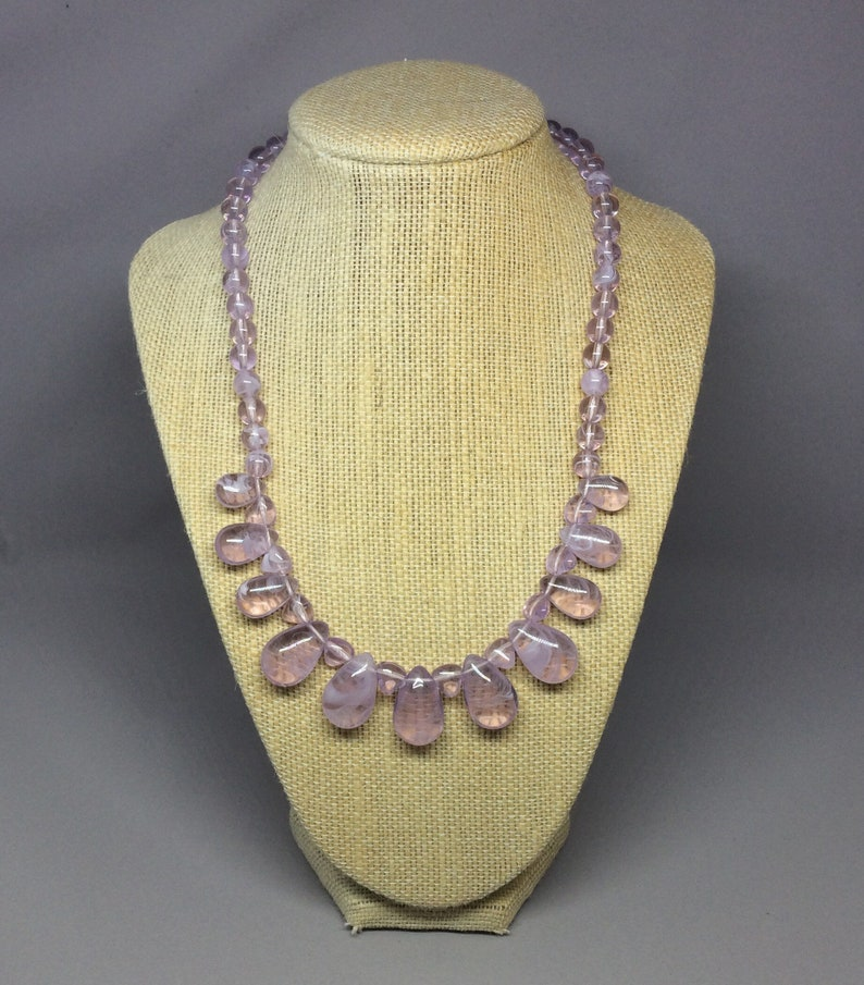 Vintage Amethyst Look Necklace and Clip Earrings Set
