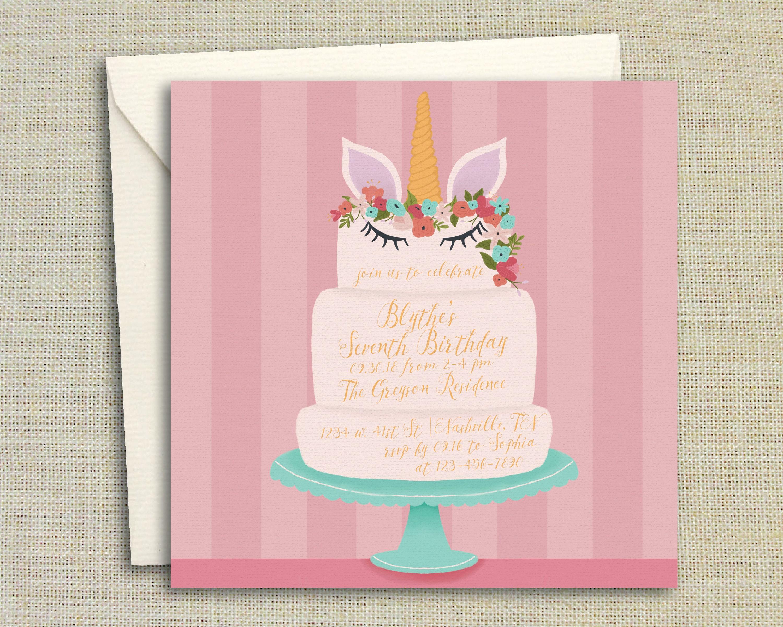 Unicorn Birthday Party Invitation Printed/Printable Birthday   Etsy