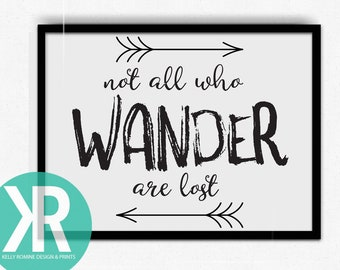 Not all who wander are lost, wanderlust wall decor, adventure prints, inspirational quotes