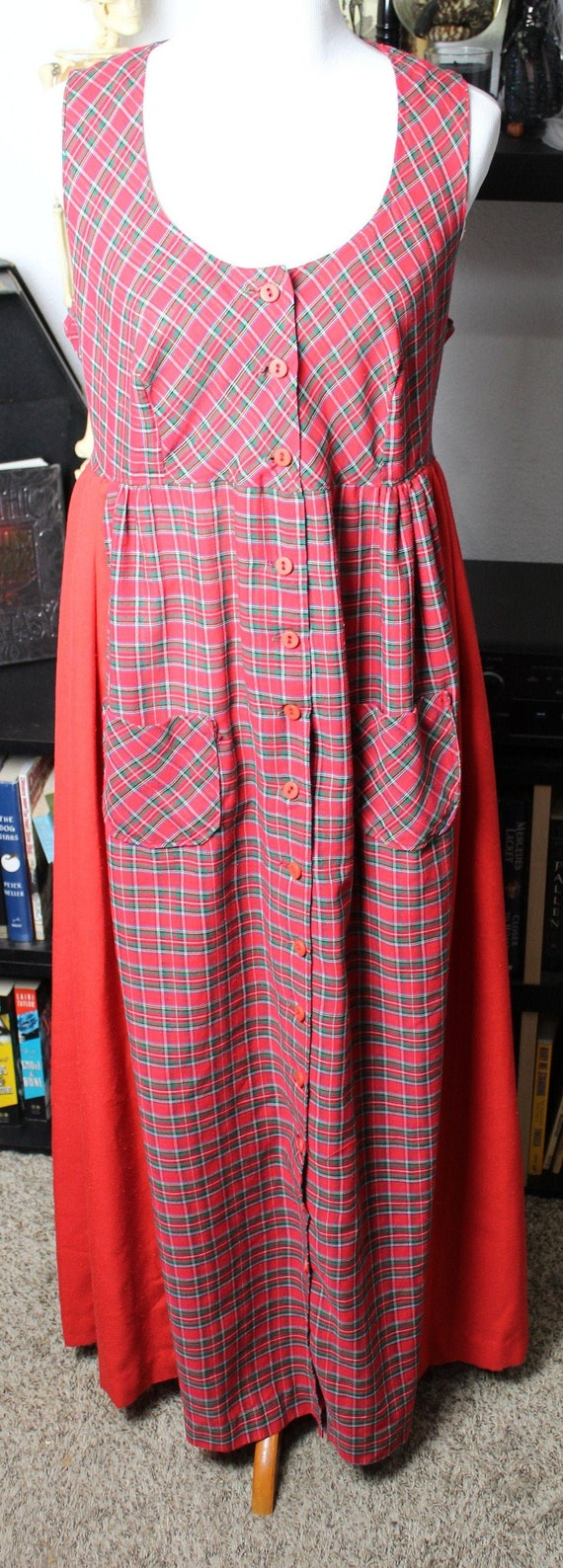 Vintage Plaid Red and Green Maxi Dress Cotton and
