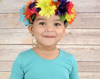 Red Pink Green Multi Coloured Rose Flower Headband Hair Crown Garland Boho 5593
