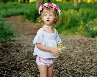Pink and hot pink rose crown / flower crown / flower girl / bridesmaide