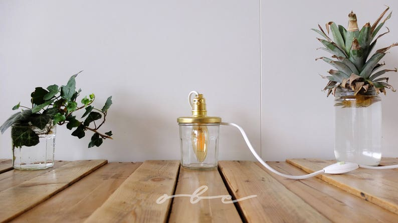 Lamp light bulb jar handmade Valentines Day gift