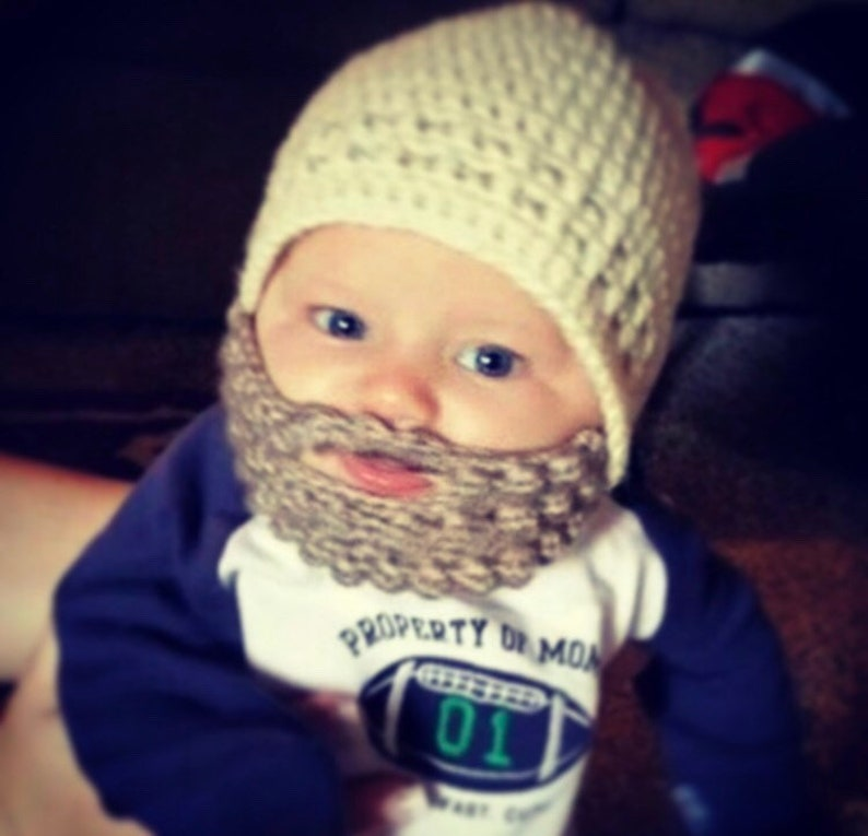2972f760d63 Custom Beard Crochet Hat Baby Beard Hat Child Beard Hat