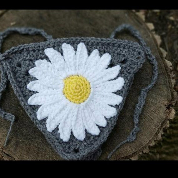 Daisy Crochet Banner Crochet Bunting Decor Photo Prop Etsy