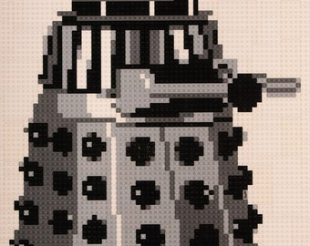 Mosaic of Doctor Who's Dalek made from Lego® bricks.