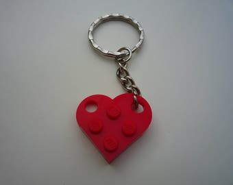 Heart keyring made from Lego® pieces.