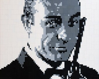 Mosaic Sean Connery - James Bond 007 made with Lego® bricks.