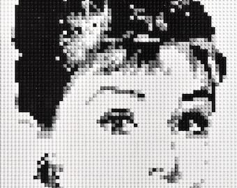 Audrey Hepburn mosaic made from Lego® bricks.
