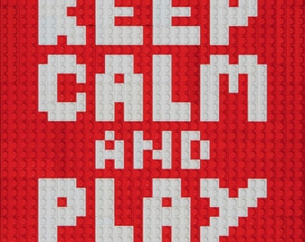 Mosaic 'Keep Calm and Play Lego' made from Lego® bricks.