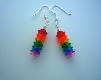 Radiant Rainbow earrings made from Lego® bricks. Finished with a silver plated hook